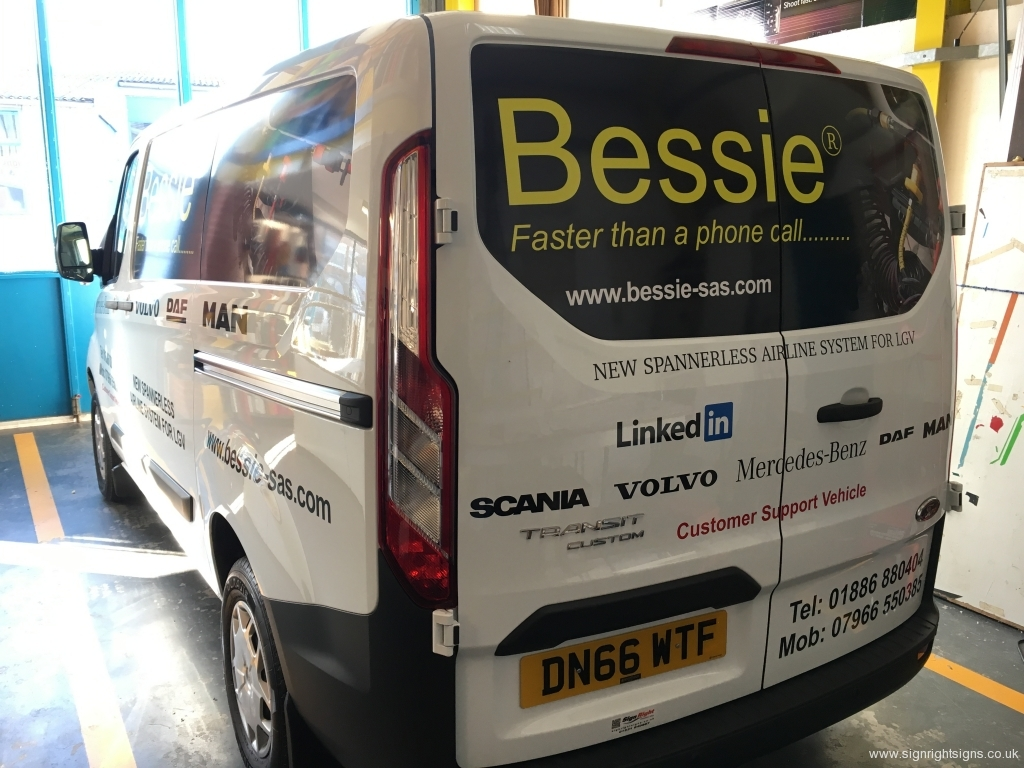 Bessie 2016 Transit van panel wrap livery rear