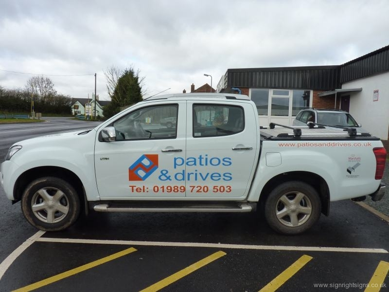 Patios & Drives pickup sign ns side