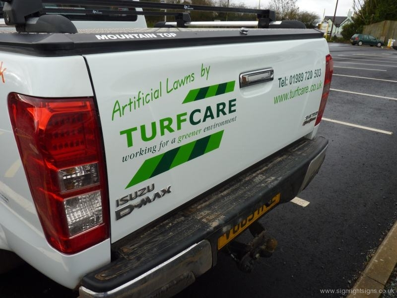 TurfCare pickup sign rear