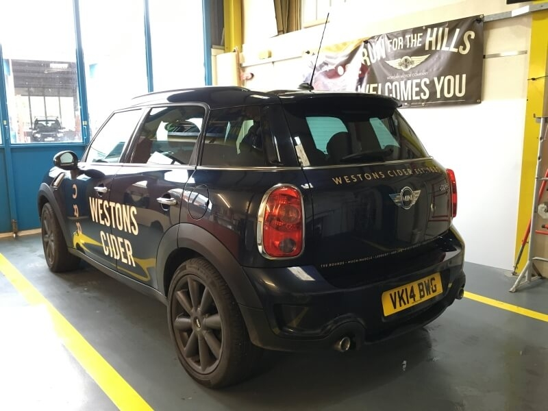 Westons Cider mini car 2017 signage
