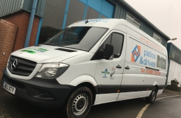 Patios & Drives Van Livery Mercedes Sprinter Van Lwb near side front view
