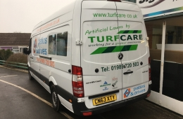 Patios & Drives Van Livery Mercedes Sprinter Van Lwb near side rear view
