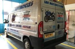 Lee Motorcycles silver peugeot boxer van