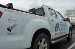 Patios & Drives pickup sign os side